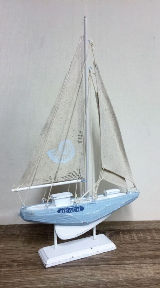 Blue & White 43cm BEACH Distressed Boat Nautical Ornament